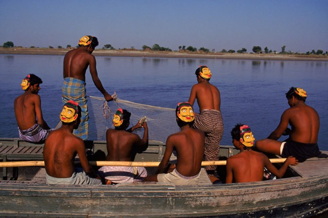 Fishermen wearing masks, India