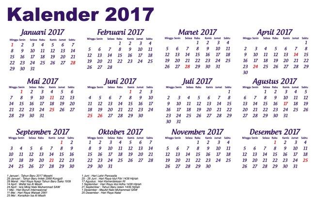 kalender 2017 lengkap